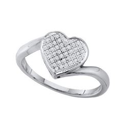 925 Sterling Silver White 0.10CT DIAMOND HEART RING