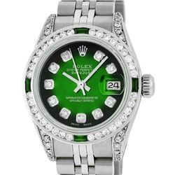 Rolex Ladies Stainless Steel  Green Vignette Diamond Lugs & Emerald Datejust Wri