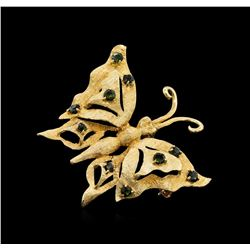 14KT Yellow Gold 1.00 ctw Green Tourmaline and Peridot Butterfly Brooch