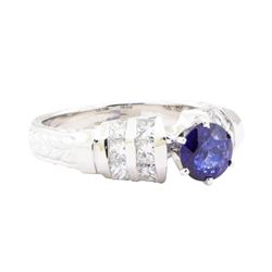 1.59 ctw Sapphire And Diamond Vintage Ring - 14KT White Gold