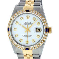 Rolex Mens 2 Tone 14K White Diamond & Sapphire Datejust Wriswatch