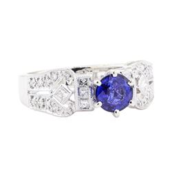 1.45 ctw Sapphire And Diamond Ring - 18KT White Gold