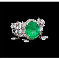 3.96 ctw Emerald and Diamond Ring - 18KT White Gold