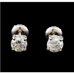 1.03 ctw Diamond Stud Earrings - 14KT White Gold