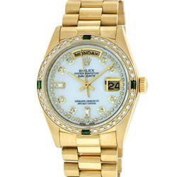 Rolex Mens 18K Yellow Gold MOP String Diamond & Emerald Quickset President Wrist
