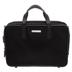 Gucci Black Nylon Leather Trim Dual Handle Briefcase