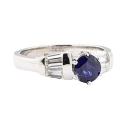1.52 ctw Sapphire And Diamond Ring - 14KT White Gold
