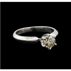 14KT White Gold 0.70 ctw Round Cut Fancy Brown Diamond Solitaire Ring