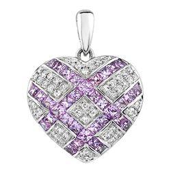 18k White Gold 2.93CTW Pink Sapphire and Diamond Pendant, (SI2-I1/H-I)
