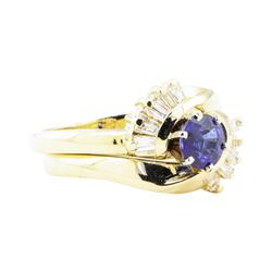 1.04 ctw Sapphire And Diamond Ring And Band - 14KT Yellow Gold