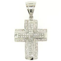 14k White Gold 2.10 ctw Invisible Set Princess & Round Diamond Cross Pendant