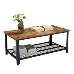 RUSTIC WOOD COFFEE TABLE & STORAGE SHELF