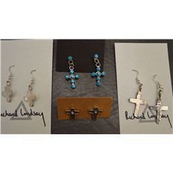NAVAJO INDIAN CROSS EARRINGS (RICHARD LINDSAY)