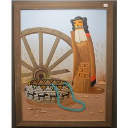 NAVAJO INDIAN PAINTING (JIMMY YELLOWHAIR)