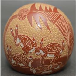 SANTA CLARA INDIAN POTTERY SEED JAR (CAMILLO SUNFLOWER TAFOYA)