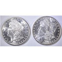 1882-S & 85-O MORGAN DOLLARS CH BU
