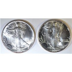 1988 & 89 AMERICAN SILVER EAGLES