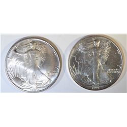 1990 & 91 AMERICAN SILVER EAGLES