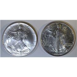 1993 & 95 AMERICAN SILVER EAGLES