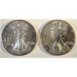 1997 & 98 AMERICAN SILVER EAGLES