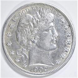 1902-S BARBER HALF DOLLAR  AU