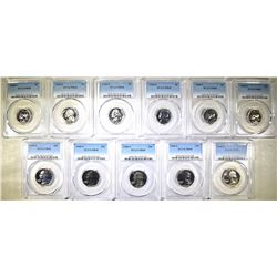 11- PCGS COINS ALL 1968-S PR-68 6- NICKELS &