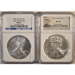 2 NGC GRADED AMERICAN SILVER EAGLES