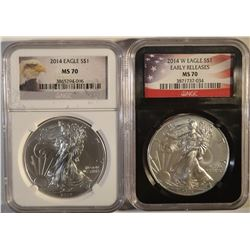 2014 & 2014-W AMERICAN SILVER EAGLES NGC MS-70