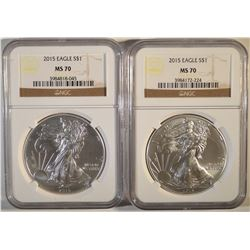 2 2015 NGC MS-70 AMERICAN SILVER EAGLES