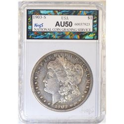 1903-S MORGAN DOLLAR  NCGS AU
