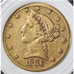 1886-S $5 GOLD LIBERTY HEAD
