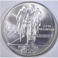 1995 OLYMPIC CYCLING UNC SILVER DOLLAR
