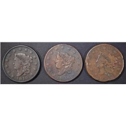 3 LARGE CENTS 1816 VG, 18 FINE, 32 G, RIM BJMPS