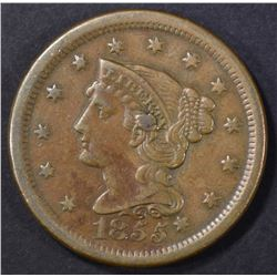 1855 KNOB ON EAR LARGE CENT XF