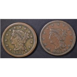 1843 & 51 LARGE CENTS VF