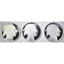 3-INDIAN/BUFFALO ONE OUNCE .999 SILVER ROUNDS