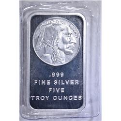 "FIVE OUNCE .999 SILVER BAR ""INDIAN/BUFFALO'"
