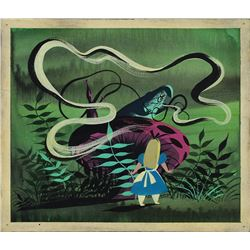 Mary Blair concept painting of Alice and Caterpillar from Alice in Wonderland