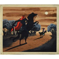Mary Blair concept painting of Ichabod and the Headless Horseman from The Legend of Sleepy Hollow