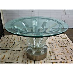 Lalique France 'Cactus' Crystal Table (one leaf has slight chip, chipped piece included)