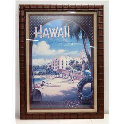 Large Framed Hawaii Land of Surf & Sunshine Waikiki Print 34  x 46