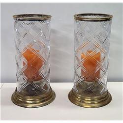 "Qty 2 Etched Glass Candleholders w/ Metal Trim, 18"""