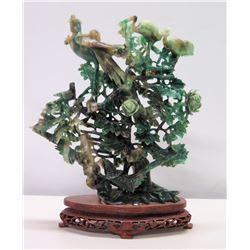 Green Jade-Like Tree w/ Birds & Flowers on Brown Stand 18 H