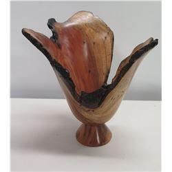 """Carved 'Black Wattle' Wooden Bowl, Signed, Base 10""""H"""