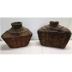 "Qty 2 Decorative Vessels w/ Woven Base 18"" x 19"""