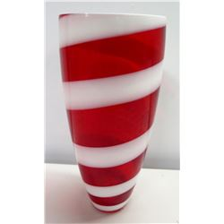 Festive Tall Red & White Candy Cane Glass Vase 13 H