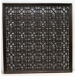 "Large Geometric Carved Dark Wood Wall Panel 47"" x 49"""