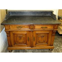 Wooden 2-Drawer 2-Door Cabinet w/ Stone Top & Carved Details 42  x 22  x 29