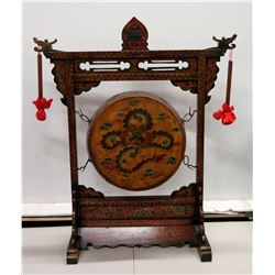Large Vintage Oriental Gong w/ Painted Wooden Stand, 2 Mallets 31  x 46