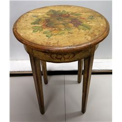 "Round Wood Vintage Side Table w/ Painted Fruit Motif 25"" Dia x 32""H"
